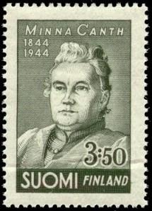 Mietityttää, miksi 100-vuotisjuhlapostimerkin Minna on puisevan miesmäiseksi  kuvattu.