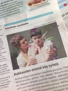 Helsingin Sanomat sattumalta puffasi näytelmää samana päivänä, kun olin menossa katsomaan esitystä (16.5.2014).