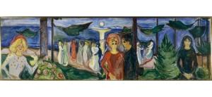 Elämän tanssi. Kuva on Norjan viralliselta sivustolta (http://www.norja.fi/News_and_events/Kulttuuri/Edvard-Munch---Elaman-tanssi/#.VMzdTGiUdcY).