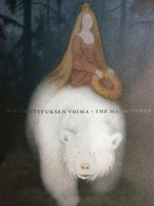 Yksityiskohta Ateneumin ja HS:n kilpailukupongista: osa Theodor Kittelsenin maalauksesta Valkokarhukuningas Valemon (1912)