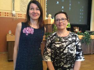 Riina Katajavuori ja Sari Peltoniemi Paasitornissa 5.8.2015
